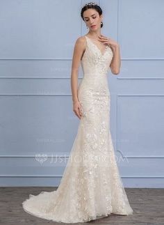 [US$ 354.19] Trumpet/Mermaid Scoop Neck Court Train Lace Wedding Dress With Beading Flower(s) Sequins