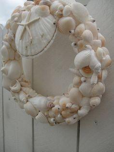 Sea Shell Wreath   Alll White Sea Shell Wreath   by donnahubbard, $90.00