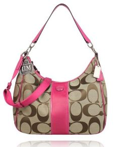 Coach 21873 Signature Stripe Convertible Hobo Handbag Khaki and Mulberry  Pink  175.00 Coach Leather Bag, 5779290a5f