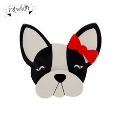 """Felicia the Frenchie Resin Brooch - """"Felicia is rather fussy but totally fabulous! Vintage Inspired Fashion, Quirky Gifts, Brooches Handmade, Polymer Clay Crafts, Felicia, Spring 2014, Rockabilly, Retro Vintage, Cute Animals"""