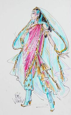 """Felt pen on paper, preliminary design sketch of a Cher costume from her 2002 through 2005 Farewell Tour, signed """"Bob Mackie."""" 17 by 11 inches.  Sold by auction."""