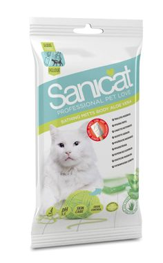 Sanicat Aloe Vera Bathing Mitts - Wet wipes with soothing aloe vera for cats that dislike water. Wet Wipe, Pet Home, Cat Grooming, Aloe Vera, Your Pet, Bathing, Personal Care, Pets, Dark