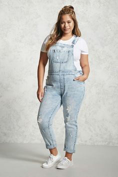 00889ce8c867 FOREVER 21+ Plus Size Acid Washed Overalls Curvy Outfits