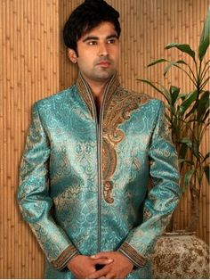 Image result for peacock green brocade sherwani