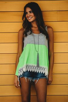 Color Block & Lace Tank! 2 Styles!   Jane