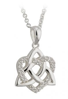 A decidedly feminine Irish Necklace with so much meaning. The sterling silver 'never ending love' Trinity knot intertwines with a sparkling CZ heart. Measures approx 0.78 x 0.78 inches, comes with 18 inch silver chain. Hallmarked in the Assay Office in Dublin Castle. Comes in presentation box.