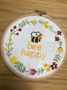 [FO] First time posting here. Trying to stay positive during these crazy times. Pattern Bee Happy by Leia Patterns - CrossStitch Cross Stitch Quotes, Cute Cross Stitch, Cross Stitch Cards, Cross Stitch Animals, Modern Cross Stitch, Cross Stitch Designs, Cross Stitching, Cross Stitch Embroidery, Geek Cross Stitch