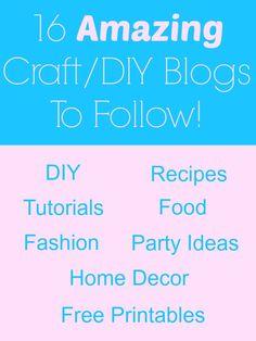 16 Amazing Craft/DIY Blogs to follow!