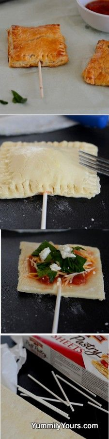 Pizza Pops - This would be so fun for a party. You could make bouquets with different flavors and people could pick and choose according to their tastes. Appetizers For Party, Appetizer Recipes, Doce Light, Vegan Recipes, Cooking Recipes, Gula, Food Hacks, Kids Meals, Love Food