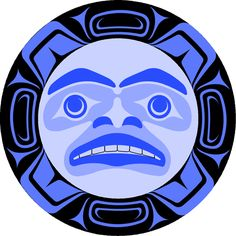 This Haida art uses organic shapes mostly ovals and soft shapes with rounded edges. This pieces has bits of geometric shapes around the circle but the overall shape is an organic shape. This piece is a very gentle looking and I think that it shows positive energy.