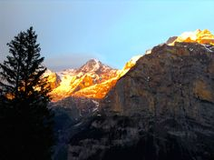 As the sun sets over the Alps.