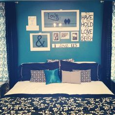 black grey and teal Bedrooms | Teal, black , gray & White bedroom | For the Home