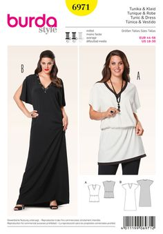 Plus size sewing pattern. Could easily be a short shift or long gown