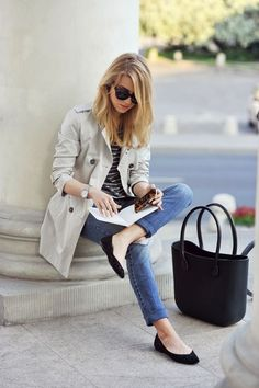 trench coat striped shirt jeans flats chic casual outfit