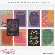 Pocket Scrapping :: Pocket Cards :: Colors from India - Journaling Cards