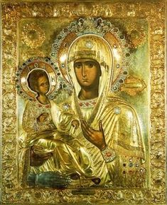 """""""Three-handed Theotokos"""" or simply """"Tricherousa"""" is a famous wonderworking icon in the Serb Orthodox monastery of Hilandar on Mount Athos, Greece. On the back of the icon is the painting of St Nicholas. Byzantine Icons, Byzantine Art, Religious Icons, Religious Art, Holy Art, La Madone, Black Jesus, Russian Icons, Madonna And Child"""