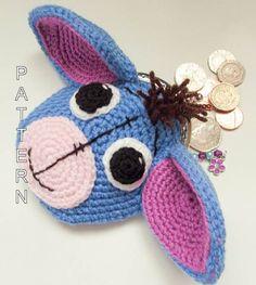 Eeyore Donkey Animal Coin Purse Crochet Pattern by WistfullyWoolen