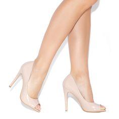 patent nude peep toe pumps