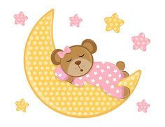 Sleepy Teddy Bear Wall Mural Decal for baby girl nursery. A gentle caring moon lulls dreamy little bear to sleep while surrounded by the twinkling night stars. This bear is absolutely adorable with her cute pink polka dot pajamas #decampstudios