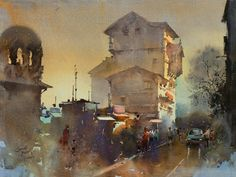 Kai Fine Art is an art website, shows painting and illustration works all over the world. Watercolor Architecture, Watercolor Landscape Paintings, Landscape Drawings, Watercolor And Ink, Landscapes, India Painting, City Painting, Painting Art, Indian Artist