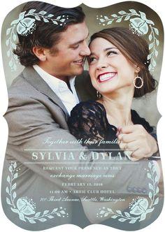 Beautiful Moment - Signature White Wedding Invitations in Pearl or Dark Gray | Elk Design