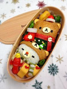 日本人のごはん/お弁当(12月編) Japanese meals/Bento リラックマ&コリラックマX'masヴァージョン弁当。Rilakkuma christmas bento