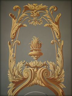 trompe-loeil-panelling Wall Painting Decor, Art Decor, Decoration, Wall Paintings, Motif Arabesque, Classic Furniture, Luxury Furniture, Mural Art, Murals