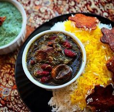 Looks so good! Herb stew called, gormeh sabzi with iranian style, rice. Deeeeelicious