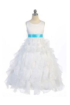 Wishesbridal White Princess O Neck Floor Length #Organza A Line #GirlsPageantDress B3gd0006