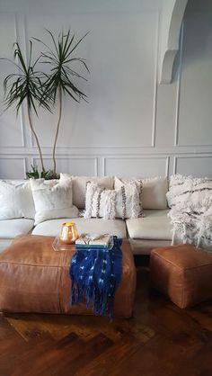 Large suquare Moroccan Pouffe Pouf ottoman Leather pouf handmade pouf brown moroccan pouf Moroccan P Moroccan Decor Living Room, Design Living Room, Ottoman In Living Room, My Living Room, Living Room Furniture, Living Room Decor, Morrocan Decor, Moroccan Bedroom, Moroccan Lanterns