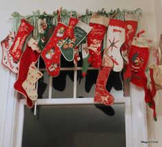Vintage Christmas stockings.....I still have my stocking from the 60's.