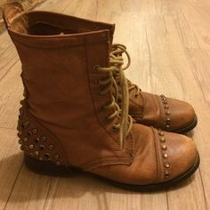 ALDO tan leather studded combat boots Tan suede combat boots in soft leather, studded toes and heels. Minor wear on the toes (scuffs) and bottoms of shoes ALDO Shoes Combat & Moto Boots