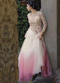 Shaded Off White Pink Embroidery Work Net Designer  Long Anarkali Gown Suit  http://www.angelnx.com/Salwar-Kameez/Anarkali-Suits