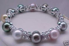 """MULTI COLORED PEARL AND DIAMOND BRACELET """"A MUST SEE"""""""