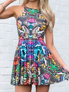 Hypermoth Reversible Skater Dress (WW 24HR $85AUD / US - LIMITED $68USD) by Black Milk Clothing