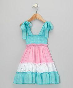 Aqua & Pink Tiered Dress