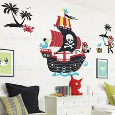 Pirate Ship Decals with Two Monkeys Wall Decal Set. Baby Boys Room Decoration, Boys Nursery Decor. Pirate Ship Decal, Monkey decal, bird decal, palm tree decal, crab decal, treasure box decal Color: T