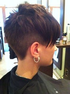 Awesome asymmetric cut. Undercut style Pixie luv the clipper cut.