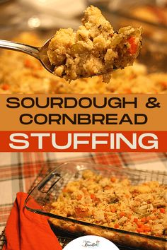 Enjoy a holiday dinner essential with this delicious sourdough and cornbread stuffing recipe! The sweet and savory combination of bread with veggies and broth are a must-have for Thanksgiving, Christmas and any Sunday dinner. This dressing can be used to stuff a bird or baked in a casserole and pairs well with chicken, ham or turkey. #HolidayMeal #Holidays #Cooking #Recipes #Stuffing #BreadDressing #HolidayRecipes Homemade Stuffing, Homemade Cornbread, Stuffing Recipes, Easy Recipes, Cooking Recipes, Healthy Recipes, Cooking A Stuffed Turkey, Chicken Ham, Cornbread Stuffing
