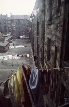 View from kitchen window of Maryhill tenements.1970. **Horrible place but look at the beautiful white washing!