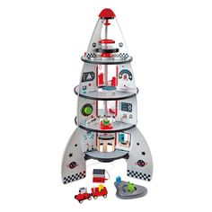 Blast off into the unknown frontiers of the imagination! This four-level rocket ship comes complete with a planetary lander and will inspire hours of fun for future engineers and astronauts.