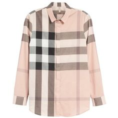 Women's Burberry Brit Check Print Cotton Shirt ($295) ❤ liked on Polyvore featuring tops, checkered pattern shirt, burberry, pink checked shirt, checked shirt and checkered top