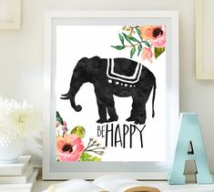Inspirational art Elephant print Be happy by LittleEmmasFlowers