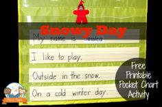 The Snowy Day Pocket Chart Activity - http://www.pre-kpages.com/the-snowy-day-pocket-chart-activity/ -                          Winter pocket chart activity to go along with the book The Snowy Day in your pre-k or kindergarten classroom. Includes free printable.