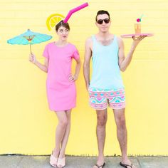 How fun is this DIY Tropical Drink costume? Pair it with your fave guy as a pool boy and you're good to GO!