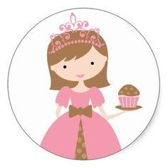Princesa Stickers de la magdalena Pegatinas Redondas