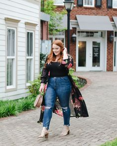 Floral Mesh Duster - thestylelodown.com | curvy blogger | fashion nova | fashion nova curve | spring style | summer | sheer | kimono | high waisted jeans | skinny jeans | distressed | raw hem | chewed hem | sharkbite | nude sandals | round bag | circle handbag | blog | anthropologie | express |