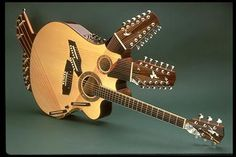 Pat Metheny is one of the most famous jazz guitar players and winner of lots of Grammys. The Pikasso guitar was built for him by luthier Linda Manzer in 1984 and it has 42 strings. Jazz Guitar, Guitar Art, Cool Guitar, Guitar Room, Guitar Pins, Pat Metheny, Smosh, Saxophone, Guitar Photos