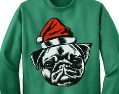Funky Pug Christmas Sweater Sweatshirt. Pug Dog Christmas Gift. Ugly Christmas Sweater. Ugly Xmas Sweater.
