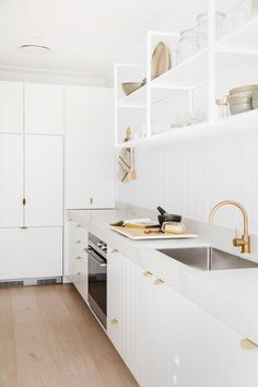 Give white kitchen cabinets a little something extra by incorporating shiplap. ( Give white kitchen White Kitchen Cabinets, Kitchen Cabinetry, Huge Kitchen, Kitchen Decor, Kitchen Ideas, Gold Kitchen, Kitchen White, Funny Kitchen, Kitchen Storage
